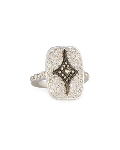 New World Rectangular Pavé Crivelli Shield Ring
