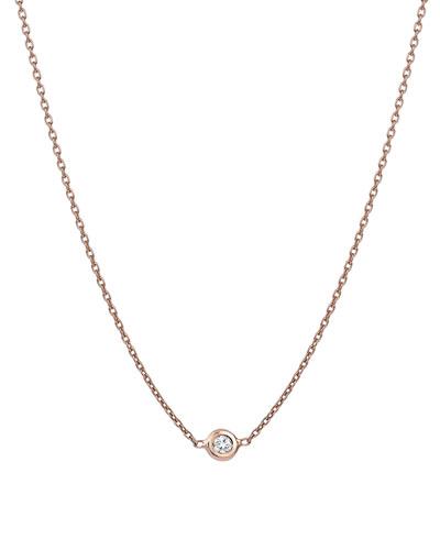14K Rose Gold Diamond Bezel Necklace