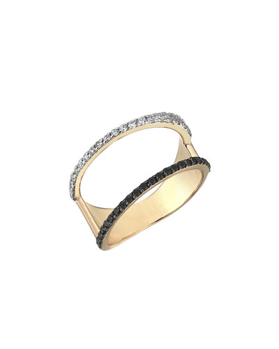 Zebra Black & White Diamond Ring in 14K Rose Gold, Size 7 ...