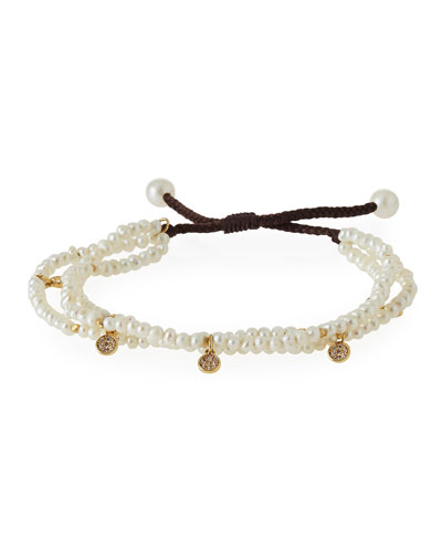 Beaded Two-Strand Pull Cord Bracelet with Pave Crystal Charms, Pearl White