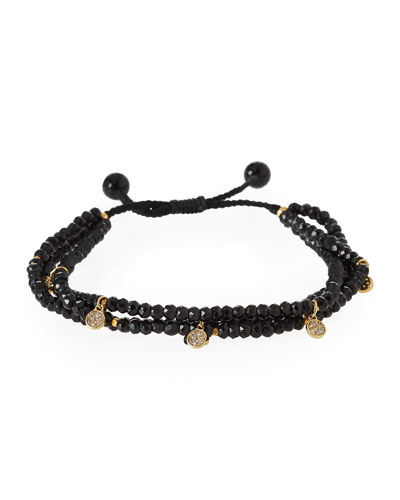 Beaded Two-Strand Pull Cord Bracelet with Pave Crystal Charms, Black