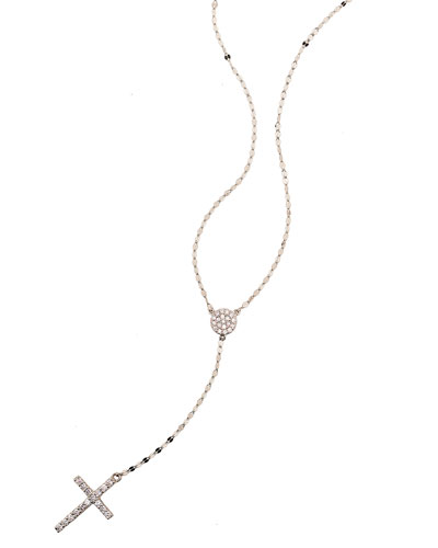 Femme Fatale Diamond Cross Lariat Necklace in 14K White Gold