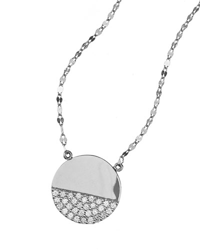 Flawless Illusion Disc Pendant Necklace in 14K White Gold