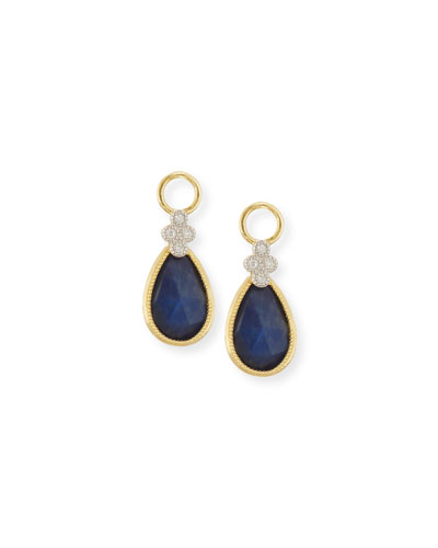 Provence Labradorite & Black Onyx Earring Charms with Diamonds