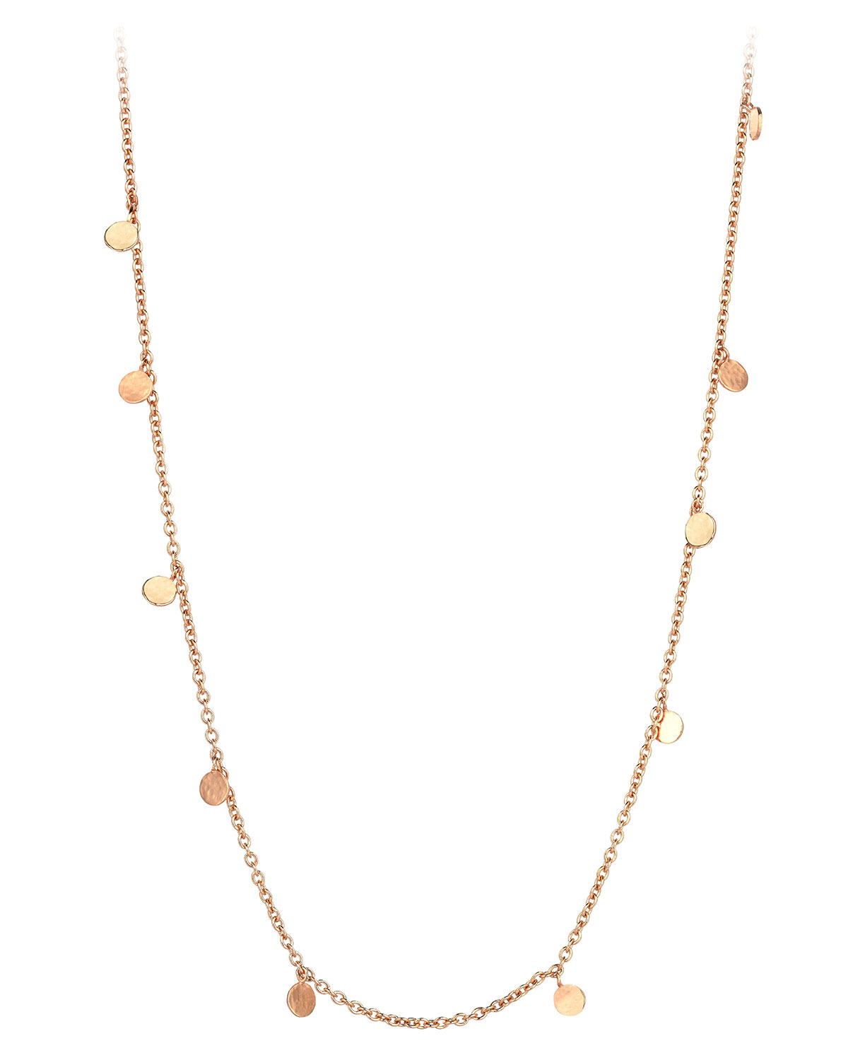 KISMET BY MILKA SEED SCATTERED DANGLING CIRCLE NECKLACE IN 14K ROSE GOLD