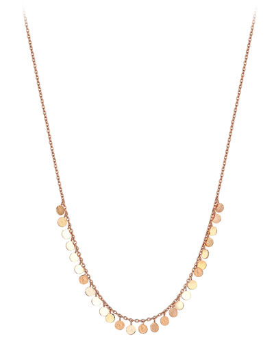 Seed Dangling Circle Necklace in 14K Rose Gold