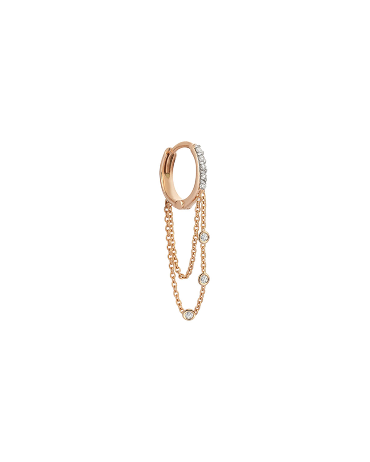 Colors 14K Rose Gold Triple-Chain Hoop Earring with Champagne Diamonds