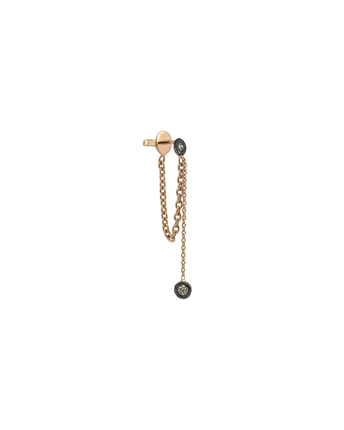 Colors 14K Rose Gold Chain Earring with Champagne Diamonds