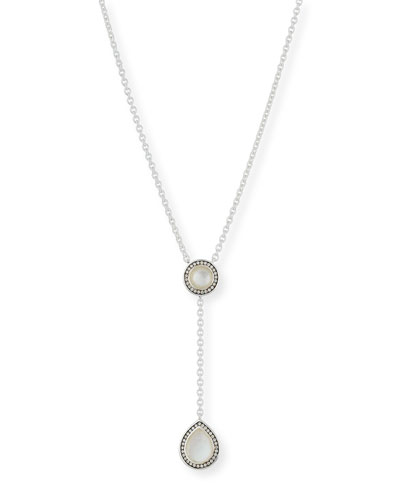 925 Lollipop Pear-Shaped Y-Drop Necklace in Mother-of-Pearl Doublet with ...