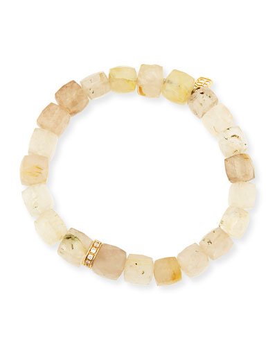 8mm Cubed Rutilated Quartz Beaded Bracelet with Diamond Rondelle
