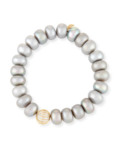 10mm Gray Pearl Button Bracelet with Diamond Bezel Ball Station