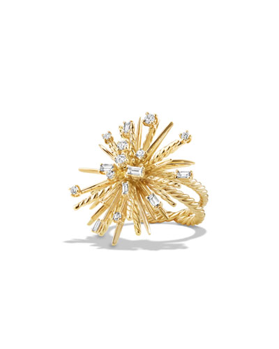 Supernova 33mm 18K Gold Spray Ring with Diamonds, Size 7