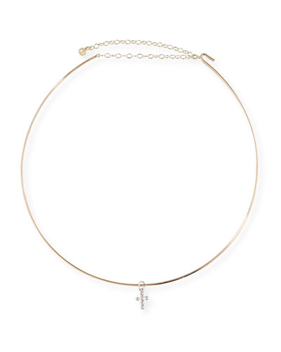 Collar Necklace w/Mini Diamond Bezel Cross Charm