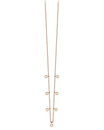 Beads Dangling Diamond Bezel Necklace in 14K Rose Gold