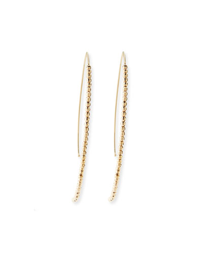 14k Gold Beaded Marquise Drop Earrings