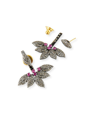 Diamond & Ruby Flower Jacket Earrings