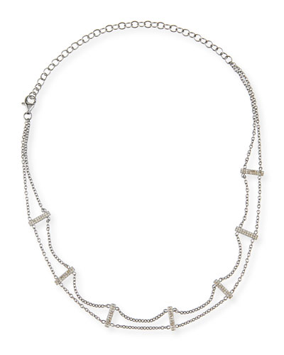 Two-Strand Diamond Bar Choker Necklace, 15