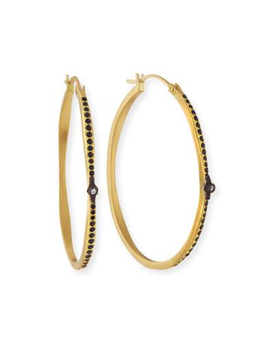 Old World Hoop Earrings with Black Sapphires & Diamonds