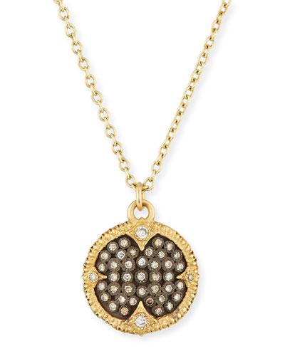 Old World Pavé Diamond Disc Pendant Necklace