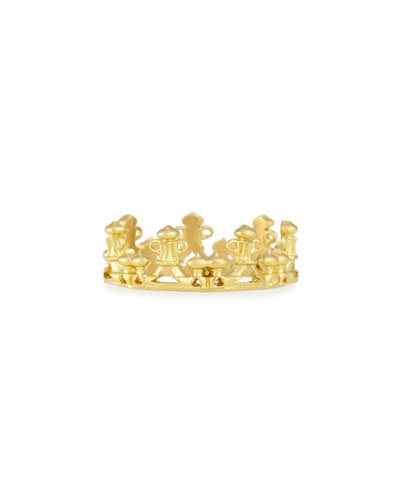 18k Gold Half Crown Stackable Ring