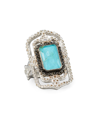 New World Midnight Turquoise & Diamond Scroll Ring
