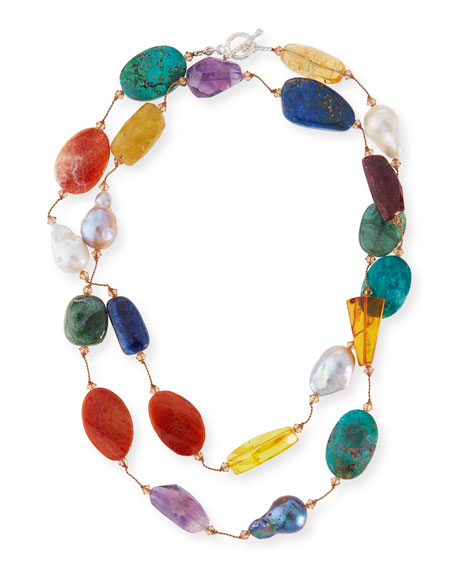 """Margo Morrison Multi-Stone & Pearl Hand-Knotted Necklace, 35"""""""