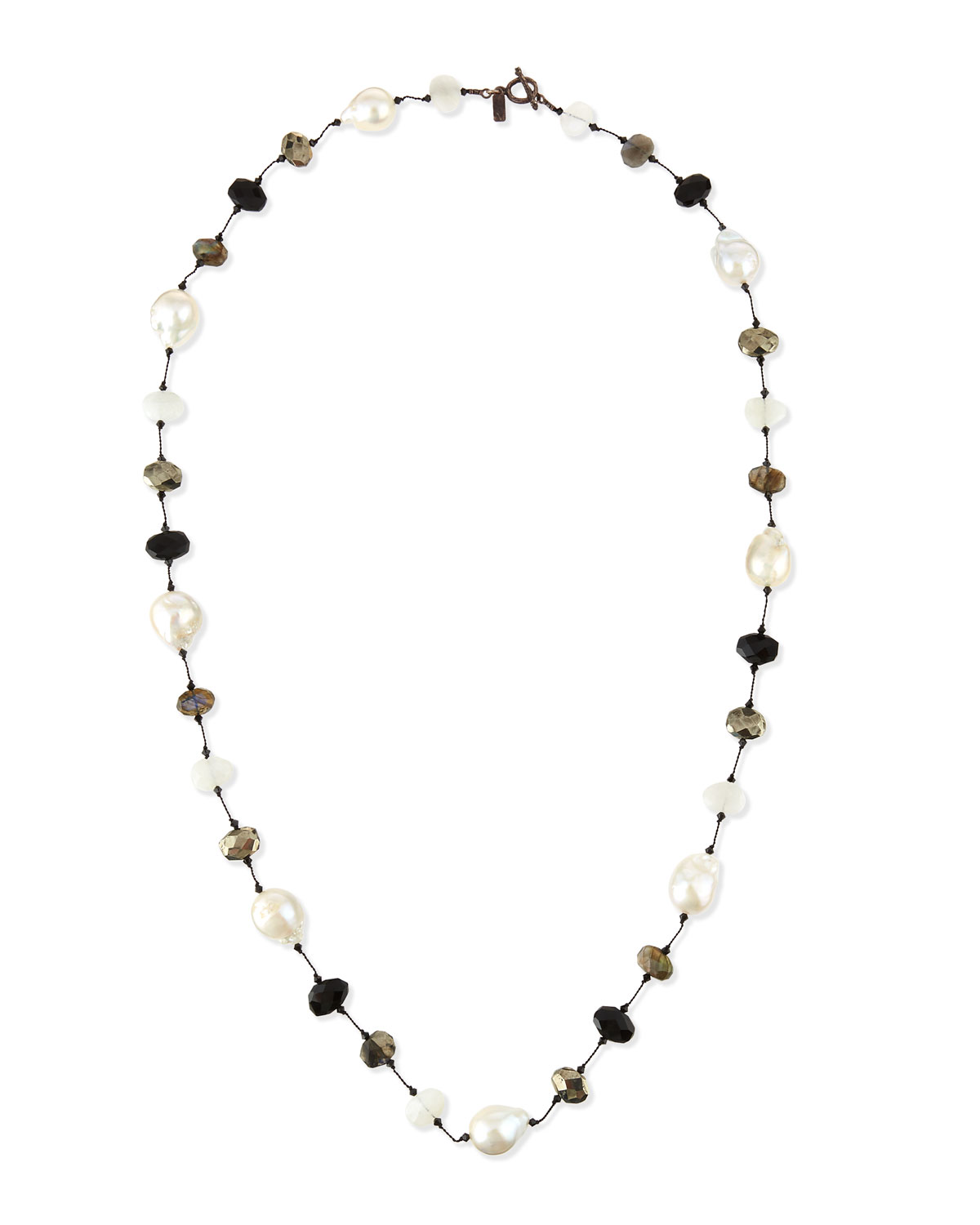 """MARGO MORRISON BAROQUE PEARL & PYRITE STATION NECKLACE, 34"""""""