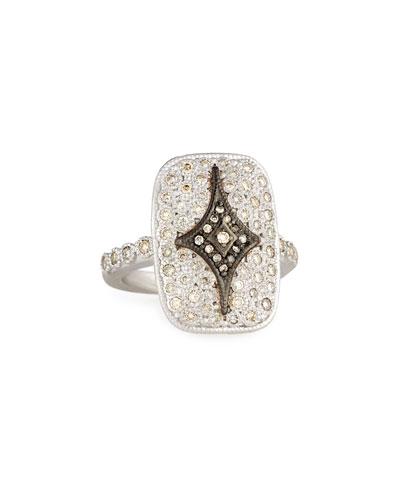 New World Rectangular Pavé Crivelli Shield Ring