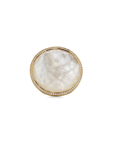 Lollipop 18k Mother-of-Pearl & Diamond Cocktail Ring, Size 7