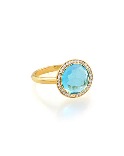 18k Gold Rock Candy Mini Lollipop Ring in London Blue Topaz & Diamond