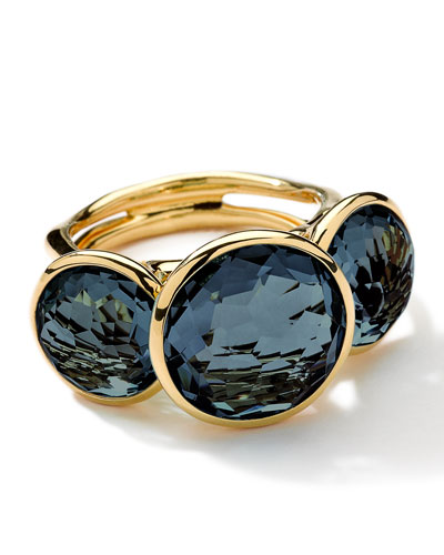 18K Gold Lollipop 3-Stone Ring in London Blue Topaz