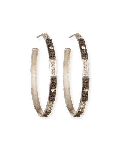 New World Two-Tone Hoop Earrings with Champagne Diamonds
