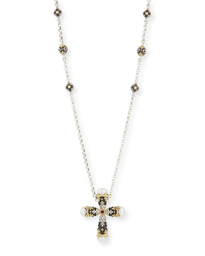 Pink Tourmaline Cross Pendant Necklace