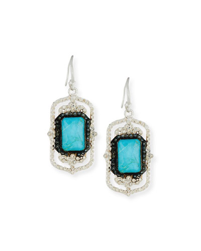 New World Rectangle Turquoise & Quartz Doublet Drop Earrings with Diamonds