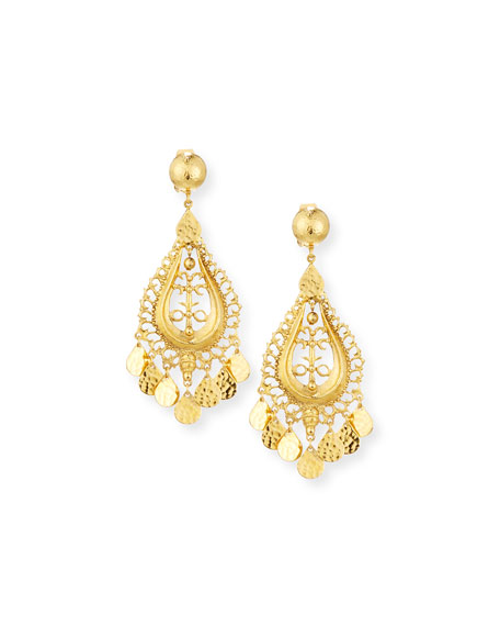 Jose & Maria Barrera Hammered Golden Teardrop Statement Earrings