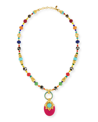 Beaded Multicolor Doorknocker Pendant Necklace