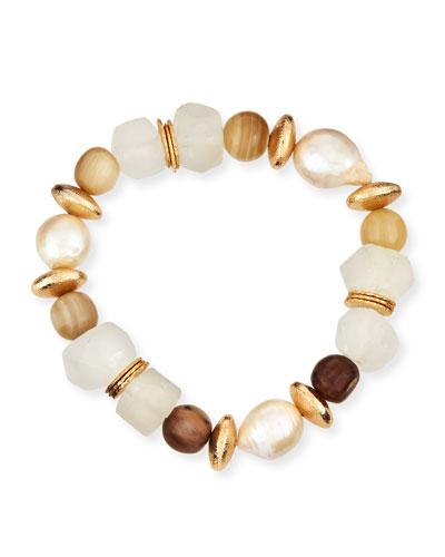 Pearl/Glass Beaded Bracelet, Neutral