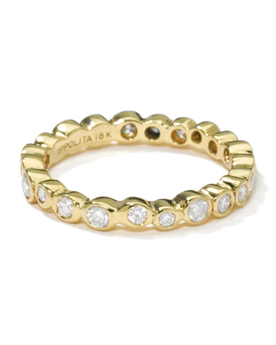 18K Gold Band Ring with Diamonds