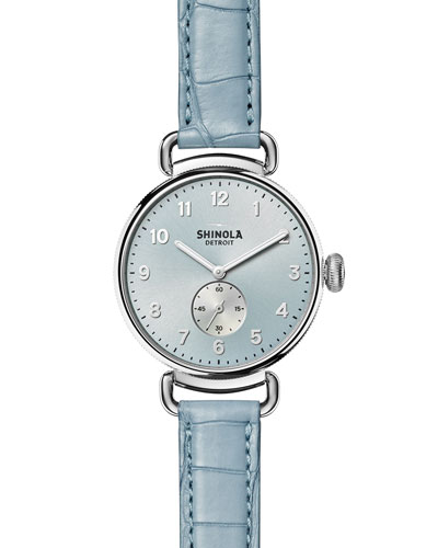The Canfield 38mm Watch w/Alligator Strap, Light Blue