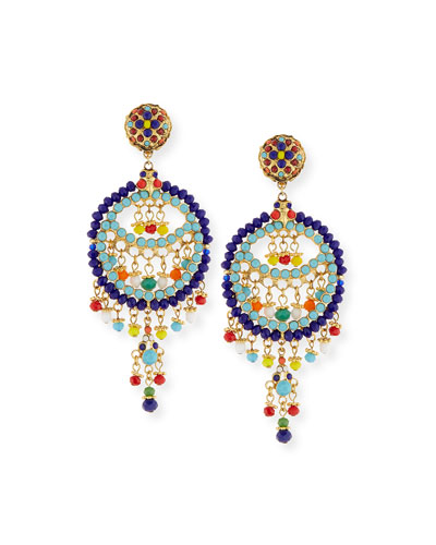 Beaded Fringe Circle Drop Clip Earrings