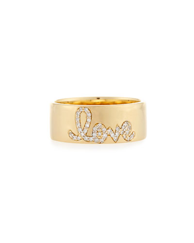 Pavé Diamond Love Ring, Size 6.5