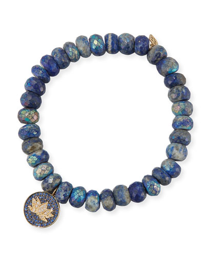 8mm Lapis Beaded Bracelet with Diamond Lotus Charm