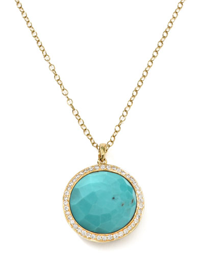 Gold Rock Candy Lollipop Diamond Turquoise Pendant Necklace