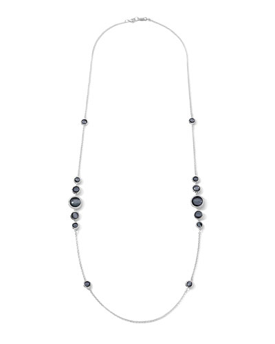 Stella Silver Station Necklace in Hematite & Diamonds, 37