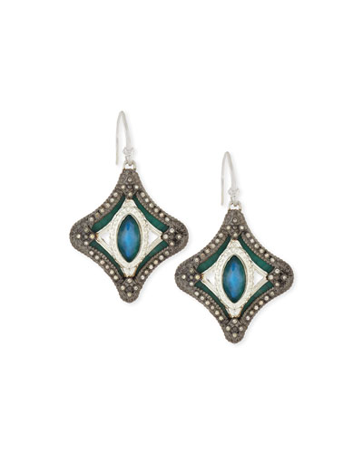 New World Mosaic Malachite Doublet Earrings