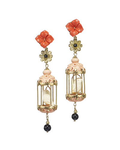 Aviary Carved Bone Drop Earrings, Coral/Pink
