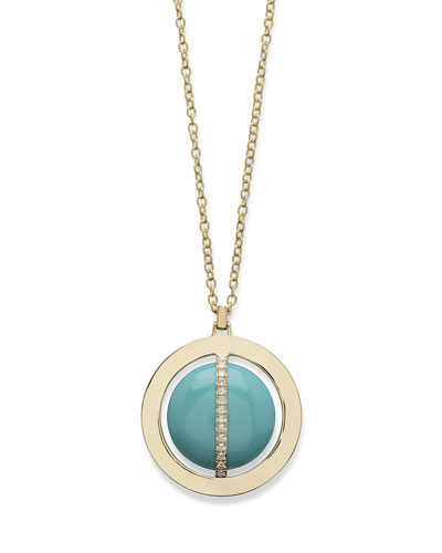 18K Senso Metal-Wrapped Turquoise Necklace with Diamonds, 31