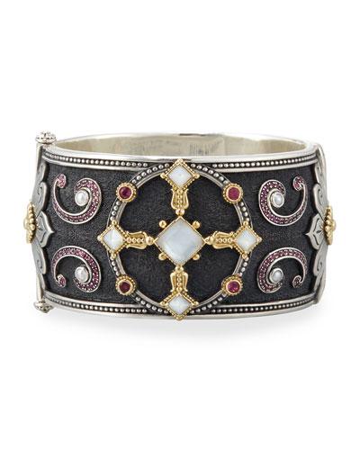 Pink Tourmaline & Pink Crystal Quartz Over Sapphire Bracelet