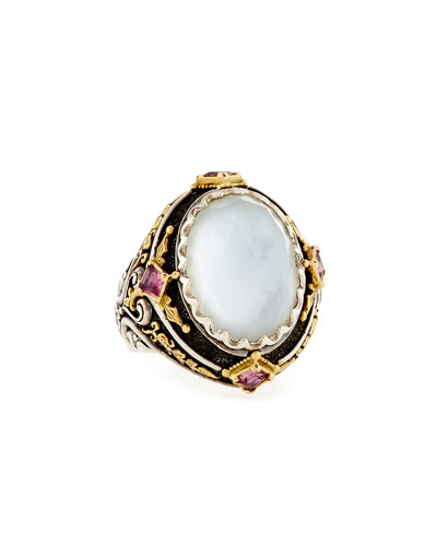 North-South Mother-of-Pearl Ring with Pink Crystal Quartz Over Sapphire & ...