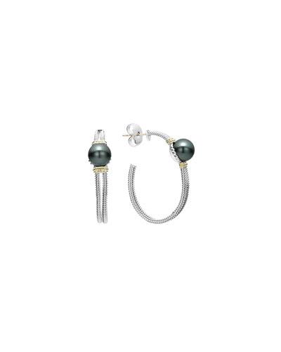 Luna Tahitian Pearl Hoop Earrings